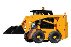 Skid steer loader (isolated). Skid steer loader with half raised bucket over white Royalty Free Stock Photos