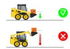 Skid steer loader safety tips. Driving forward with a load. Flat vector vector illustration