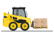 Skid steer loader safety tips. Driving forward with a load. Flat vector royalty free illustration