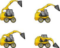 Skid steer loaders. Heavy construction machines. Royalty Free Stock Images