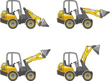Skid steer loaders. Heavy construction machines. Vector illustration Royalty Free Stock Images