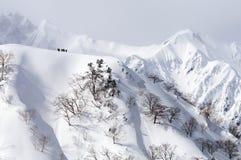 Skida bergsbestigning Arkivfoto