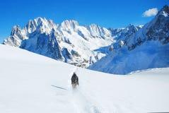 Skida för skidåkare som är sluttande i höga berg mot solsken Royaltyfri Fotografi