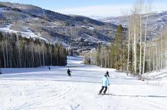 Skida packad Pow på Beaver Creek, Vail semesterorter, Avon, Colorado fotografering för bildbyråer