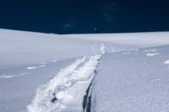 Skida turnera spåret i pulversnö med suddig skidåkarebakgrund Royaltyfri Fotografi