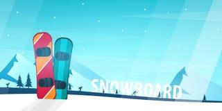 skida vintern för snowsportspår skida snowboarden stora liggandebergberg Idrottsmannen skidar lutningen ner också vektor för core royaltyfri illustrationer