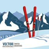 Skidar bakgrund, berg i vintersäsong också vektor för coreldrawillustration Arkivfoton