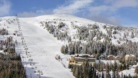 skidar den österrikiska semesterorten för alps stock video