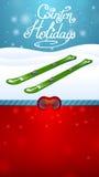 Skidar grönt skidåkning för vinterferier och rött skyddsglasögon Arkivbilder