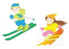 Skidar och snowboarduppsättningen - plats för vintersportar stock illustrationer