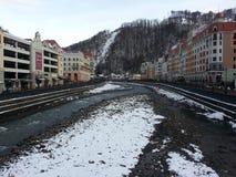 Skidar semesterorten Rosa Khutor, Krasnaya Polyana, Ryssland Arkivbilder