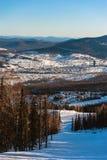 Skidar semesterorten Sheregesh, det Tashtagol området, den Kemerovo regionen, Ryssland Royaltyfria Bilder
