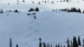 Skidar slingor på det snöig berget Royaltyfri Foto