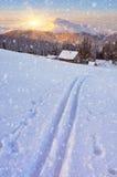 Skidar spåret på snö royaltyfri bild