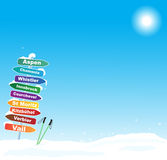 Skidar turillustrationen med berömt skidar destinationer Arkivfoton