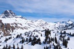 Skidar und Wandergebiet Voralberg arkivbilder