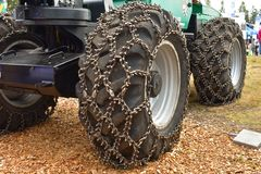 Skidder chains or traction chains for tires stock image