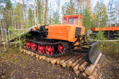 Skidder TDT - 55A on a pedestal in the Park Royalty Free Stock Photo