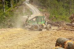 Skidder truck doing work in mountain forest, clearing tree logs