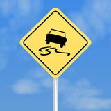 Skidding car road sign Royalty Free Stock Photo