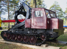 Skidding tractor TT-4. The exhibition of equipment in the town of Sharya, Kostroma region Royalty Free Stock Photos