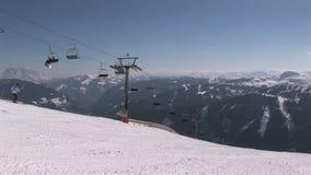 Skidlift i Österrike stock video