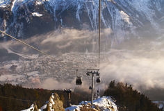 Skidlift i franska Alps Royaltyfria Foton