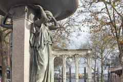 Skidmore喷泉在大约1888年的Ankeny广场 库存照片
