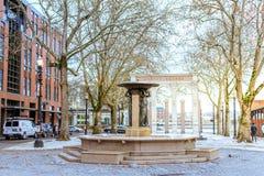 Skidmore fontanna która jest historycznym fontanną w Starym Grodzkim Dist, obraz royalty free