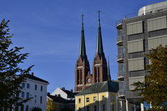 Skien kirke. Twin tower in Skien, a small town in Telemark, Norway. This is the Church in Skien Royalty Free Stock Image
