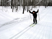 Skier. Happy skier in the winter forest Stock Images