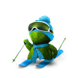 Skier. Green person with ski equipment Royalty Free Stock Photography