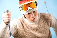 Skier. Portrait of healthy sportsman skiing on resort Royalty Free Stock Photography