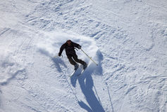 Skier. (mature man on 40s) seen from above Stock Image