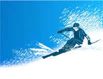 Skier. Illustration of alpine skier riding on winter mountains Royalty Free Stock Images