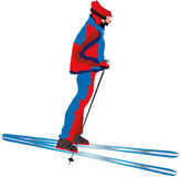 Skier. Vectors illustration shows a skier to ski rolling off stock illustration