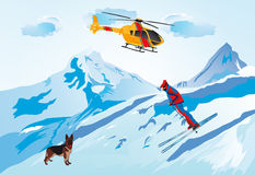Skier. Vectors illustration shows rolling off a skier to ski in the mountains vector illustration