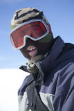 Skier. Portrait of a snowboarder (mature man on 40s Stock Photography