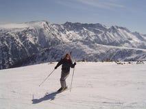 Skier. Women skier sunshining on ski Stock Image