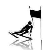 Skier. Profile of a man who competes in the slalom Royalty Free Illustration