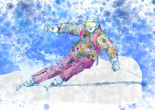 Skier. Hand drawing picture, sports theme : down hill skier Royalty Free Stock Image
