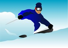 Skier. Vector illustration of a man skiing Royalty Free Stock Images