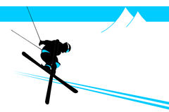Skier. Vector skier on the white background Royalty Free Stock Image