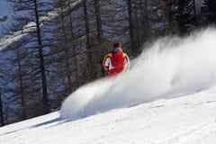 Skier. Ski trail in italian alps Stock Photo
