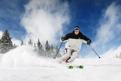 Skier. In the high mountines Stock Photo