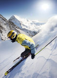 Skier. Fast skier in high mountains Stock Photo