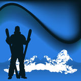 Skier. A group of silhouetted skiers Royalty Free Stock Photography