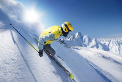 Skier. In high alpen mountains Stock Image