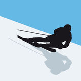Skier. Silhouette of an alpine skier Royalty Free Stock Image