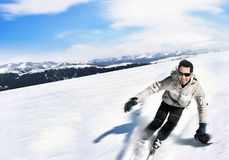 Skier. In the mountains, beautiful landscape royalty free stock photo